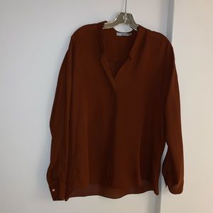 Vince Rust Sheer Silk Collarless Blouse size 10